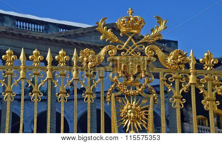 Versailles, France - April 19, 2015: Golden Main Gates Of The Versailles Palace. The Palace Versaill