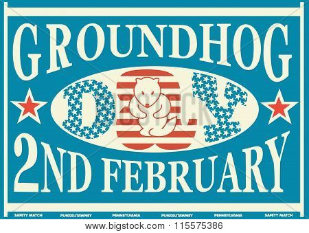 Groundhog Day Vintage Match Label