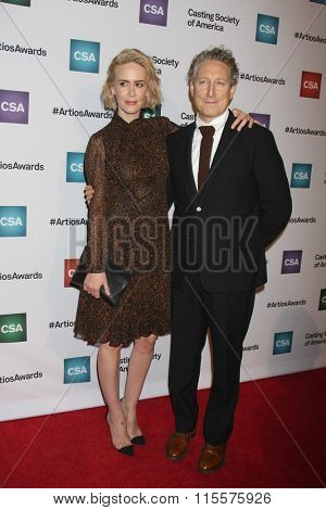 LOS ANGELES - JAN 21:  Sarah Paulson, Bernard Telsey at the 31st Annual Artios Awards at the Beverly Hilton Hotel on January 21, 2016 in Beverly Hills, CA