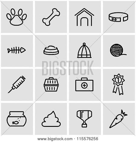 Vector Line Pet Icon Set