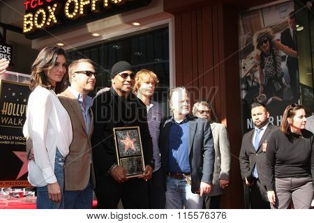 LOS ANGELES - JAN 21:  Daniela Ruah, Chris O'Donnell, Eric Christian Olsen, LL Cool J, Producer at the LL Cool J wof  Ceremony at the Hollywood and Highland on January 21, 2016 in Los Angeles, CA