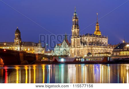 Dresden. The building of the Hofkirche at night.