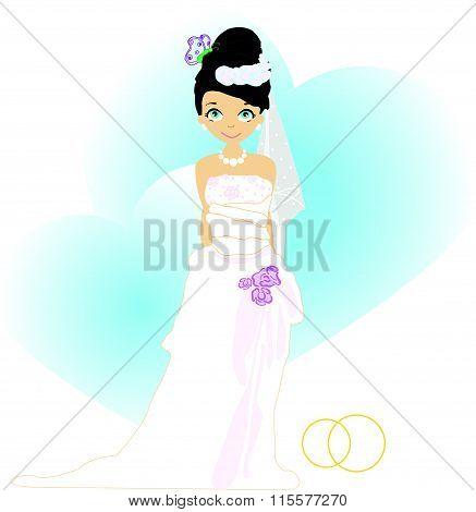 Elegant bride in Blue.Illustration