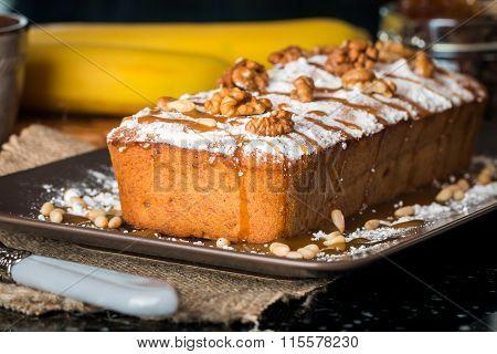 Banana Bread With Caramel And Walnuts