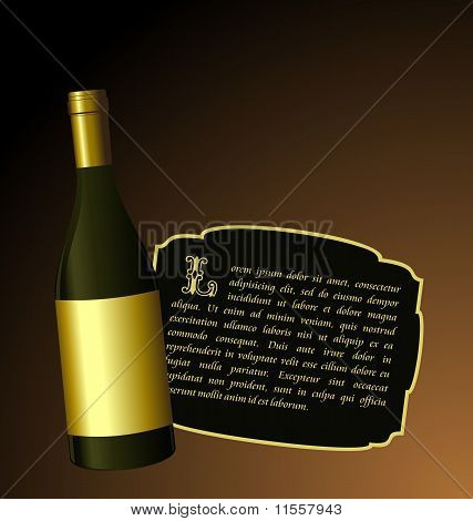 Illustration The Elite Wine Bottle With White Gold Label