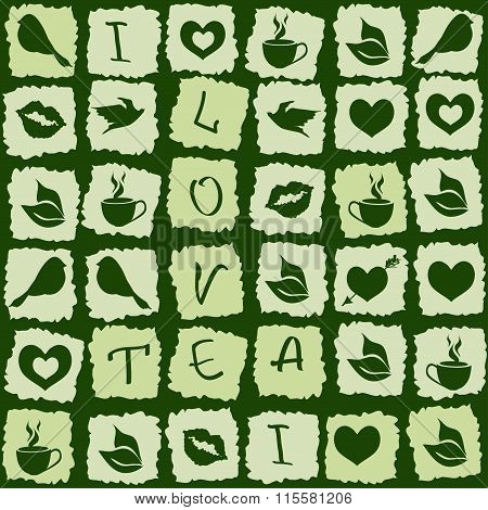 Seamless Pattern Of Green Tea Puzzle