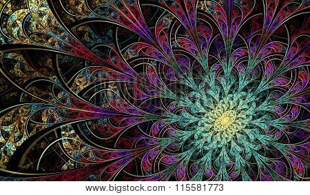 Multicolored symmetrical fractal pattern as flower