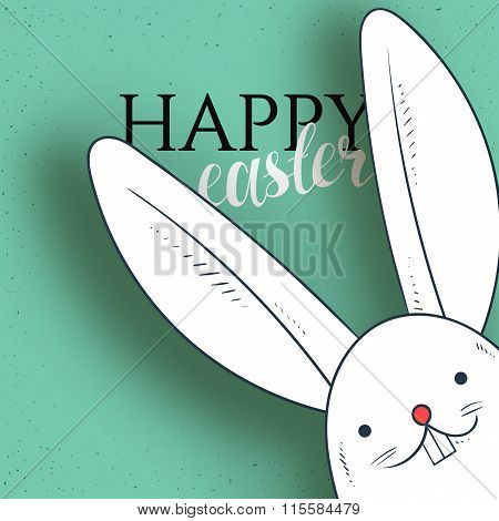 Happy easter. Rabbit looks and greeting calligraphy. Easter bunny