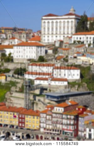 Portugal. Porto City. Old Historical Part Of Porto. In Blur Style
