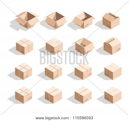 Set of 16 realistic isometric cardboard boxes with texture