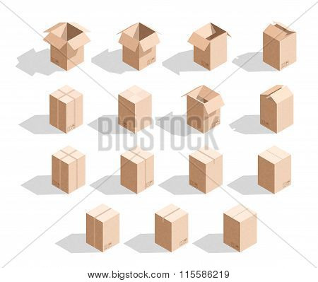 Set of 15 realistic isometric cardboard boxes with texture