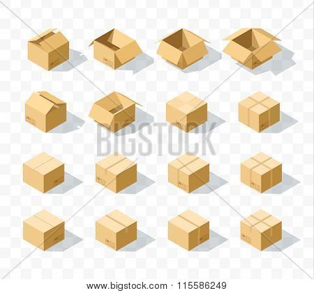 Set of 16 realistic isometric cardboard boxes with transparent shadow