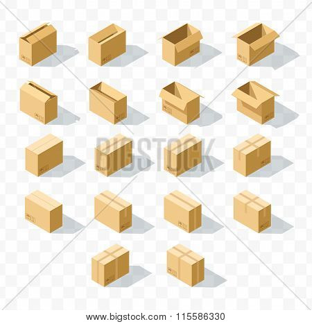 Set of 18 realistic isometric cardboard boxes with transparent shadow