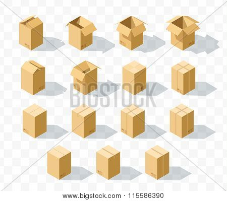 Set of 15 realistic isometric cardboard boxes with transparent shadow