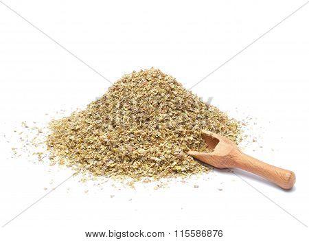 Heap of ground marjoram leaves