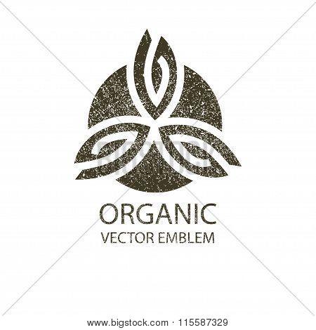 Vector organic retro emblem black, white, outline symbol