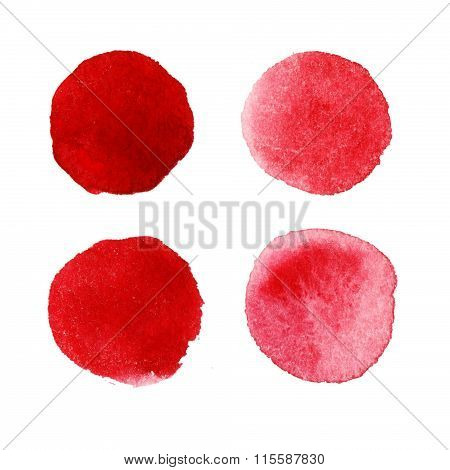 Red watercolor paint circles.