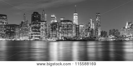 Black And White New York Panorama At Night, Usa.