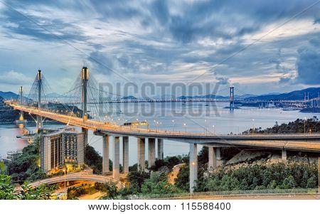 Traffic Night scene of Ting Kau suspension bridge, Hong Kong