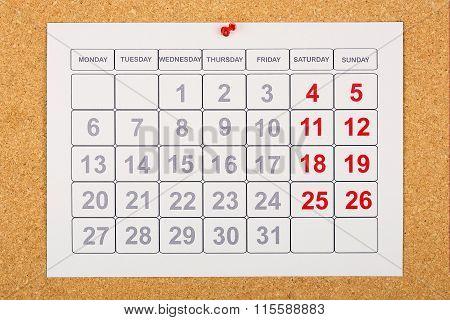 Calendar On Corkboard
