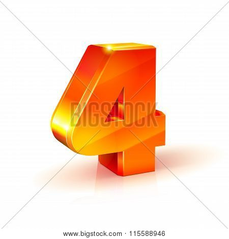 Shiny Orange Red Number Four Isolated On White Background