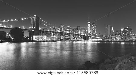 Black And White Picture Of New York At Night.