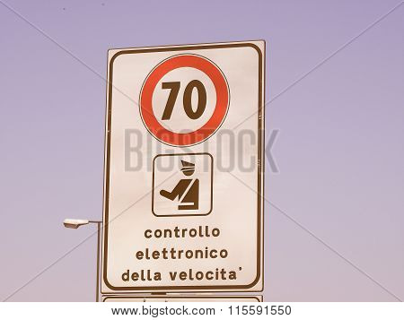 Maximum Speed Sign Vintage