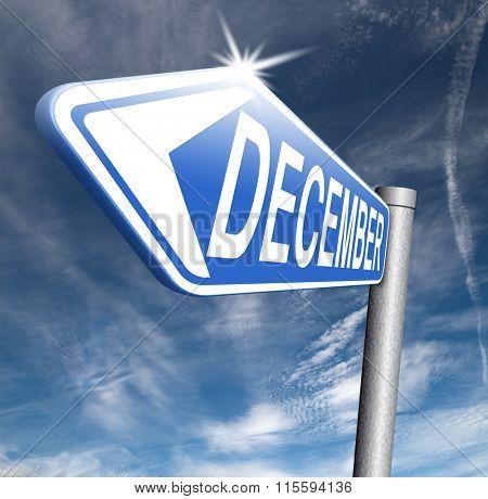 December last month of the year winter season event calendar or next agenda schedule