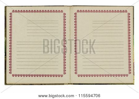 Open Old Notebook, Isolated On White Background
