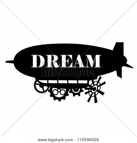 Vector background stylized fantastic airship with a place for the text.  Black silhouette dirigible