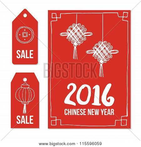 Chinese New Year, Set Of Hand Drawn Sale Price Tags And Greeting Card, Vectors