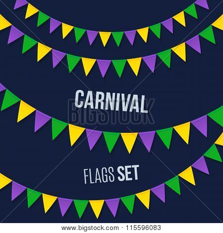Carnival flags set isolated on dark background