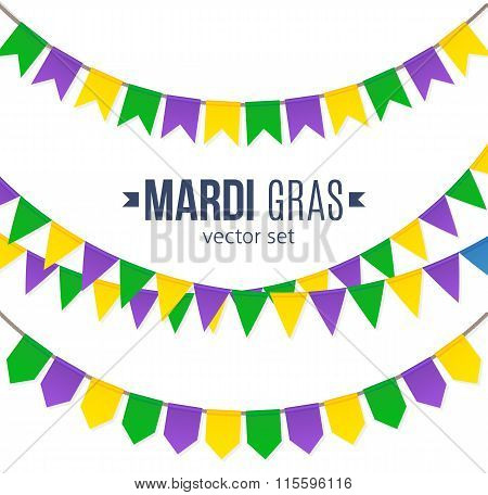 Mardi Gras traditional flags set isolated on white background