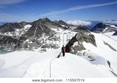 Mountaineering In Wedgemount Area Of Garibaldi Park Near Whistler, Bc, Canada.