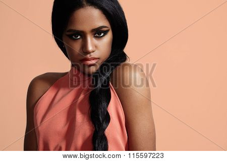Black Woman With A Stright Hair In A Braid