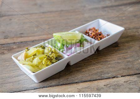 Thai Vegetarian Side Dish On Wood Table