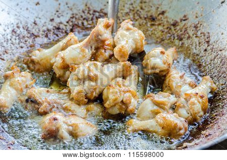 Fried Chicken In Pan With Hot Oil