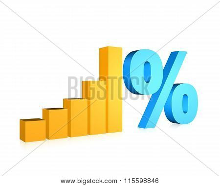 Graphic chart and percent symbol