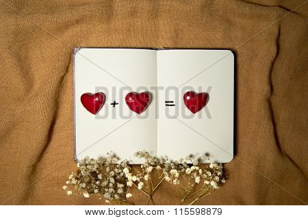 Blank Notebook With Hearts On Sackcloth Background