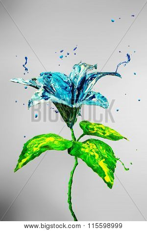 Beautiful Lily Flower Made Of Blue And Green Paint