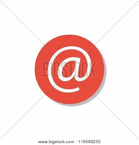 Email Icon On Red Circle Background