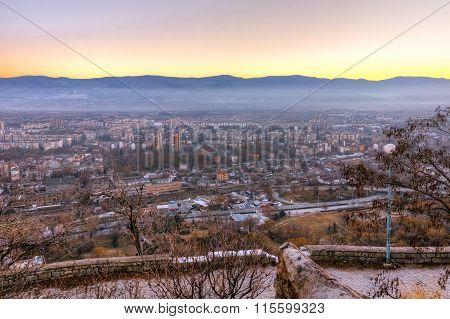 Amazing twilight Landscape of city of Plovdiv from Dzhendem tepe hill