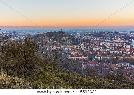twilight Panorama of city of Plovdiv from Dzhendem tepe hill