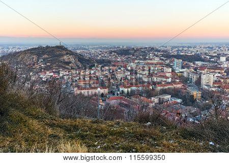 Twilight Landscape of city of Plovdiv from Dzhendem tepe hill
