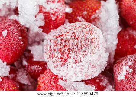 Strawberries, Frozen For Long Term Storage Of Ice.