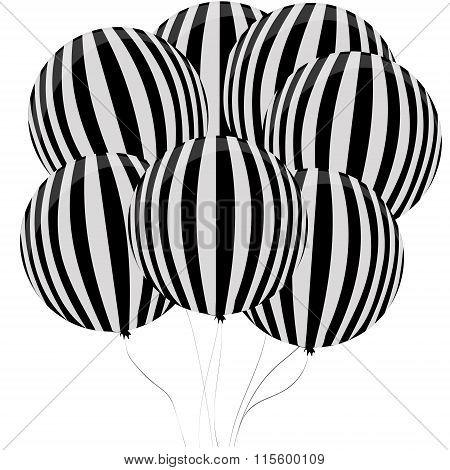 Balloon Black And White Pattern.