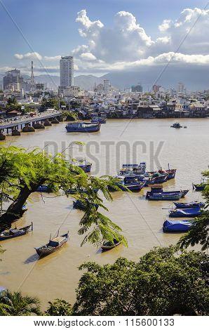 Vietnam, the Views of Nha Trang, the bridge on the river Kai