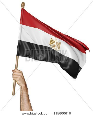 Hand proudly waving the national flag of Egypt