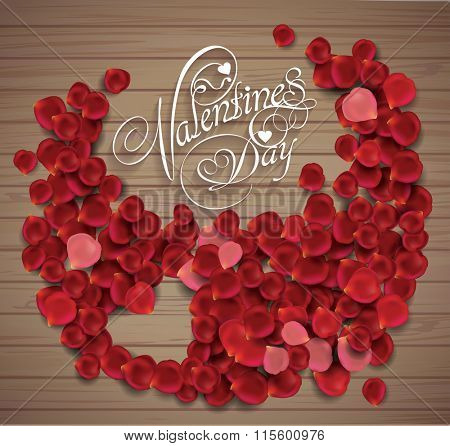 valentine's day background. Greeting Card. Heart made from rose petals on wooden texture