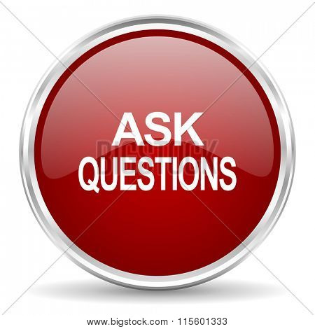 ask questions red glossy circle web icon